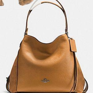 Coach Edie 31 Light Saddle Mixed Leathers Handbag
